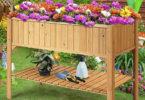 Test et Avis COSTWAY Jardinière sur Pieds Pot de Fleurs Bac à Fleurs en Bois avec Etagère pour Jardin