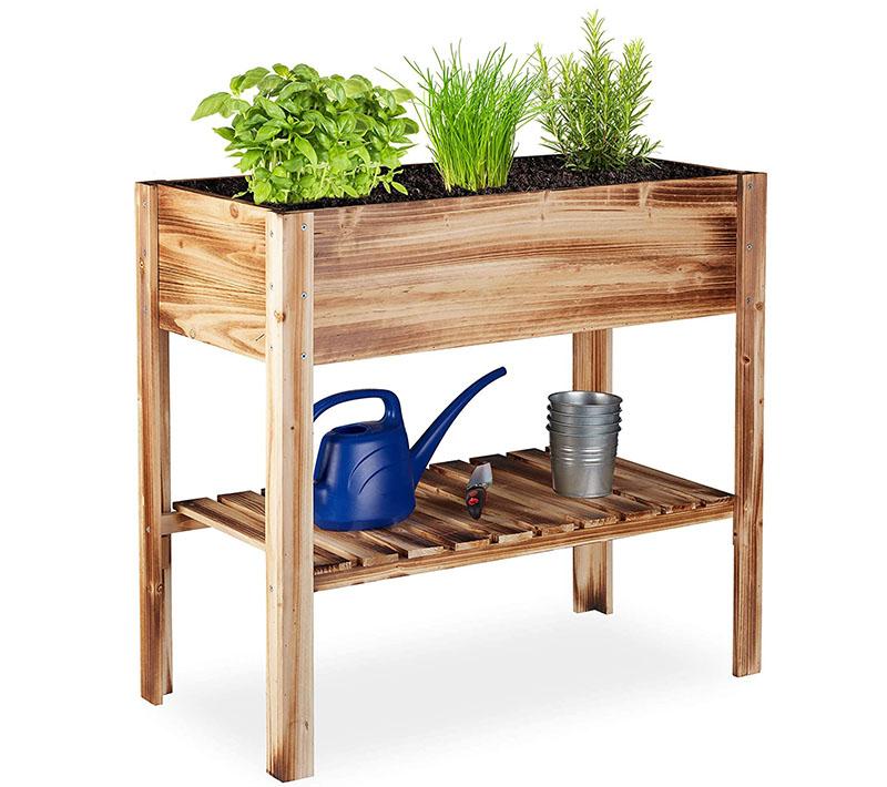 Comparatif Relaxdays Carré Potager, légume, Herbes, Jardin, Balcon, Jardinière sur Pied, HxlxP 80 x 88 x 43,5 cm, Bois flambé