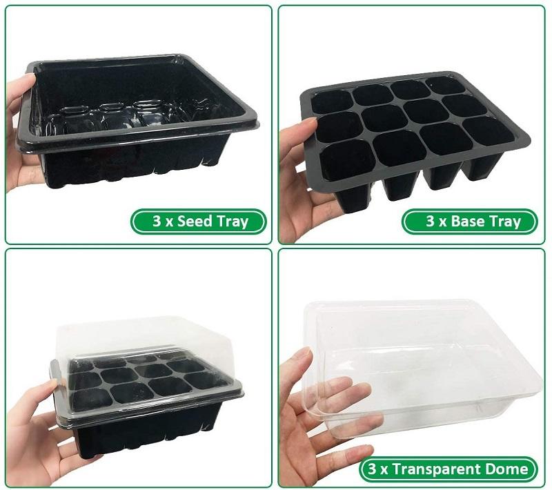 Test - BoloShine Lot de 3 Bac à semis, Plateau de démarrage de semis Plateaux de pépinière de cellules, Mini Serre pour semis avec 12...
